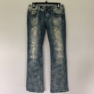 Express acid wash ripped denim